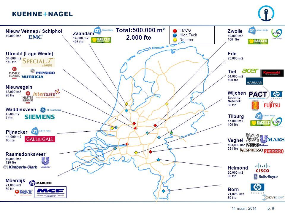 Nieuw Vennep / Schiphol 10.000 m2 Utrecht (Lage Weide) 34.000 m2 140 fte Nieuwegein 12,000 m2 20 fte Waddinxveen 4,500 m2 7 fte Pijnacker 14,000 m2 90