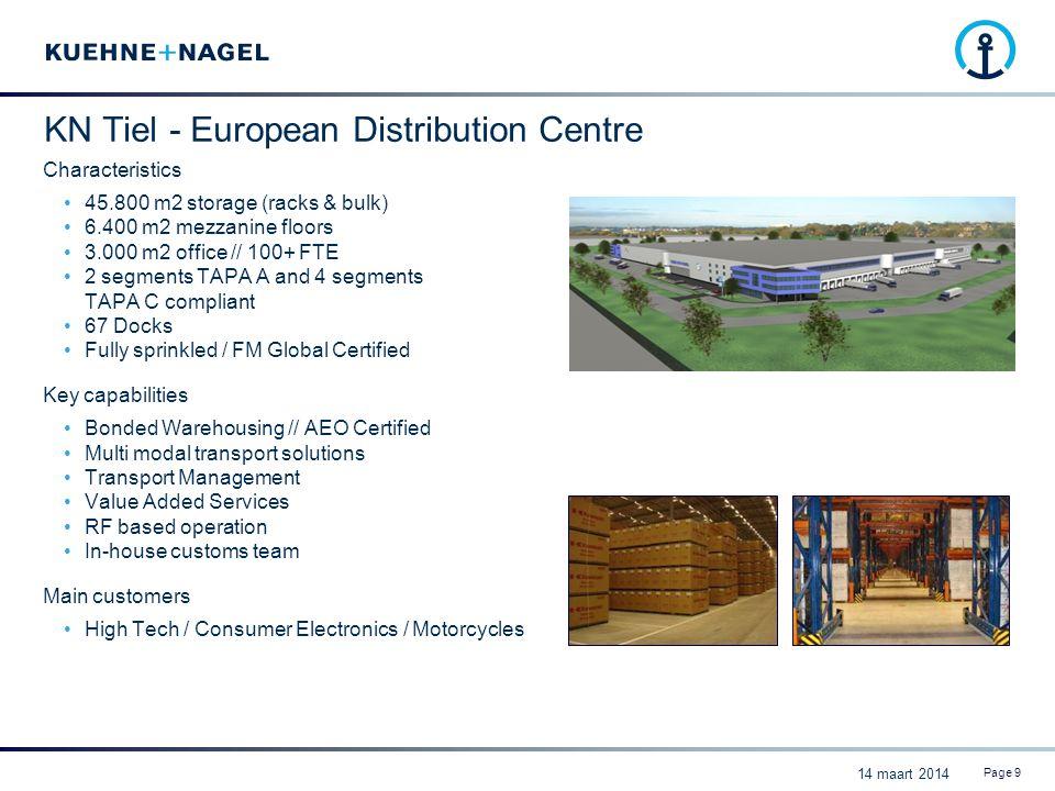 KN Tiel - European Distribution Centre Characteristics 45.800 m2 storage (racks & bulk) 6.400 m2 mezzanine floors 3.000 m2 office // 100+ FTE 2 segmen