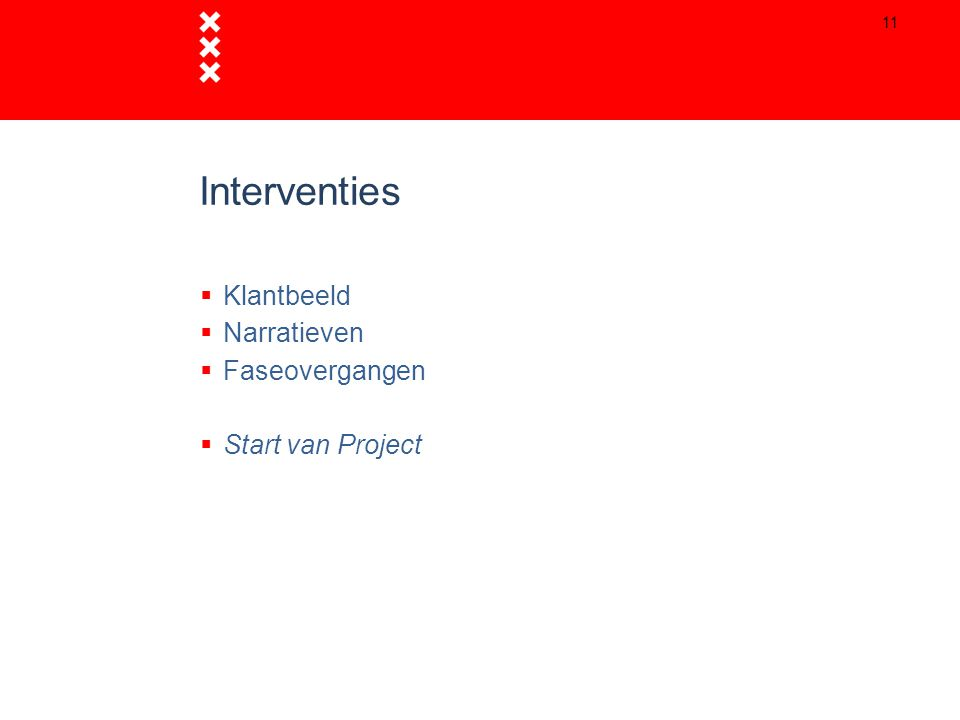 Interventies  Klantbeeld  Narratieven  Faseovergangen  Start van Project 11