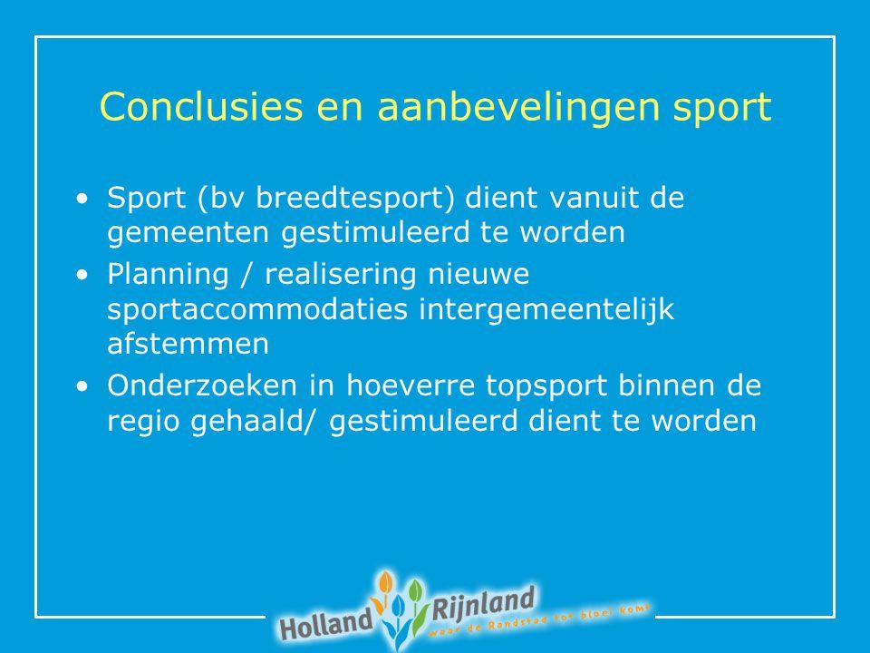 Conclusies en aanbevelingen sport Sport (bv breedtesport) dient vanuit de gemeenten gestimuleerd te worden Planning / realisering nieuwe sportaccommodaties intergemeentelijk afstemmen Onderzoeken in hoeverre topsport binnen de regio gehaald/ gestimuleerd dient te worden