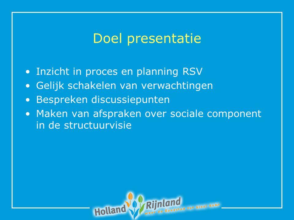 Doel presentatie Inzicht in proces en planning RSV Gelijk schakelen van verwachtingen Bespreken discussiepunten Maken van afspraken over sociale component in de structuurvisie