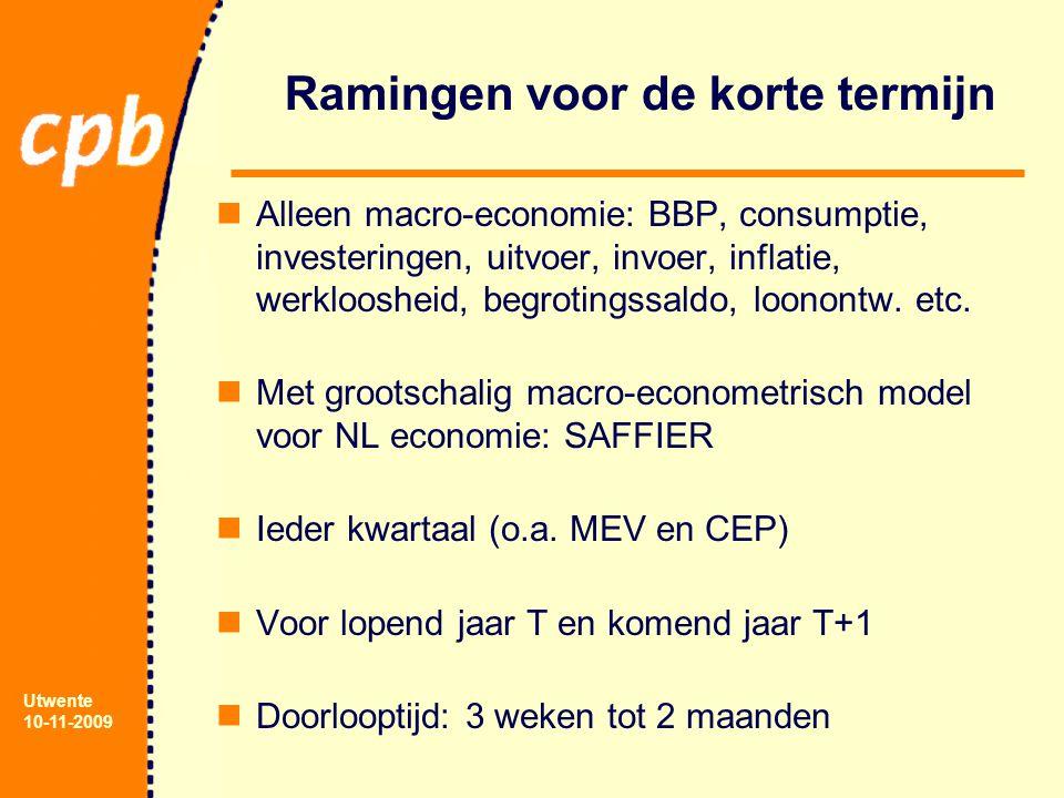Utwente 10-11-2009 Ramingen voor de korte termijn Alleen macro-economie: BBP, consumptie, investeringen, uitvoer, invoer, inflatie, werkloosheid, begrotingssaldo, loonontw.
