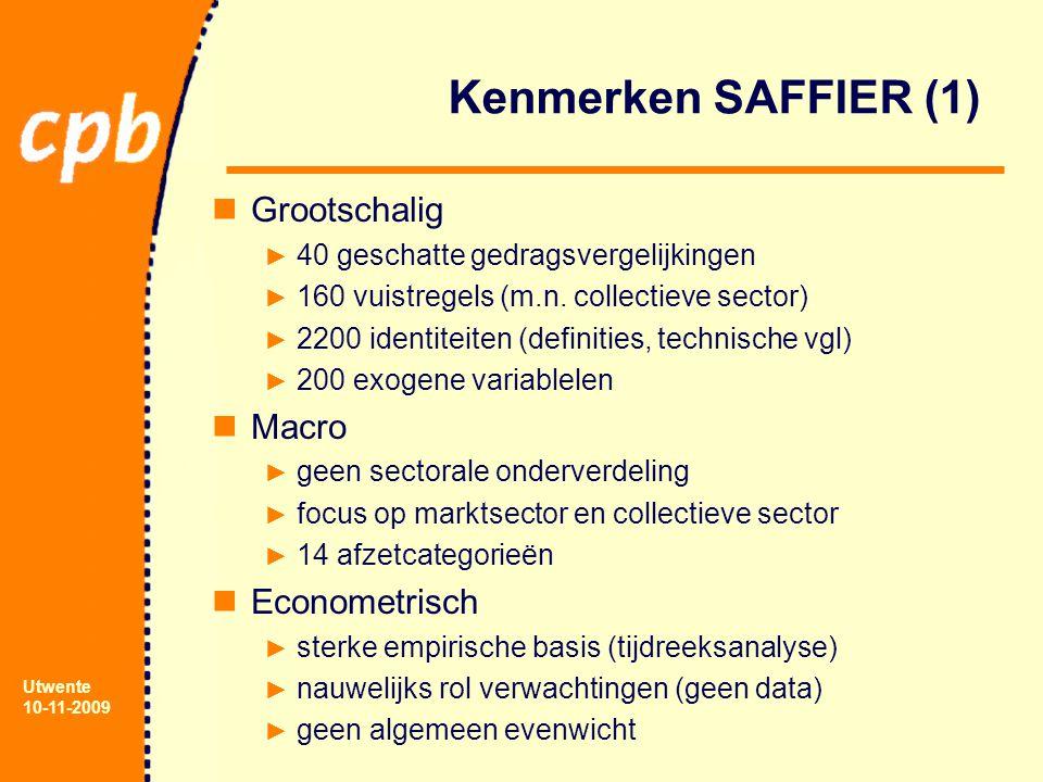 Utwente 10-11-2009 Kenmerken SAFFIER (1) Grootschalig ► 40 geschatte gedragsvergelijkingen ► 160 vuistregels (m.n. collectieve sector) ► 2200 identite