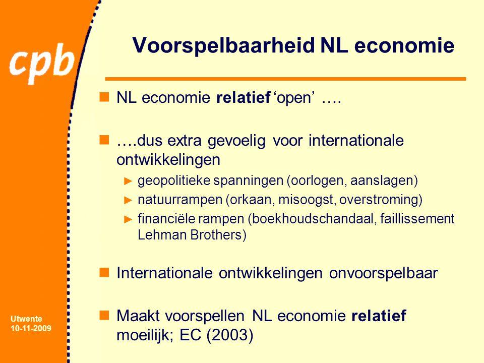 Utwente 10-11-2009 Voorspelbaarheid NL economie NL economie relatief 'open' …. ….dus extra gevoelig voor internationale ontwikkelingen ► geopolitieke