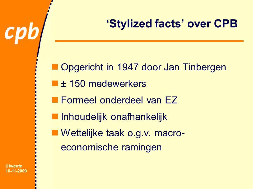 Utwente 10-11-2009 'Stylized facts' over CPB Opgericht in 1947 door Jan Tinbergen ± 150 medewerkers Formeel onderdeel van EZ Inhoudelijk onafhankelijk Wettelijke taak o.g.v.