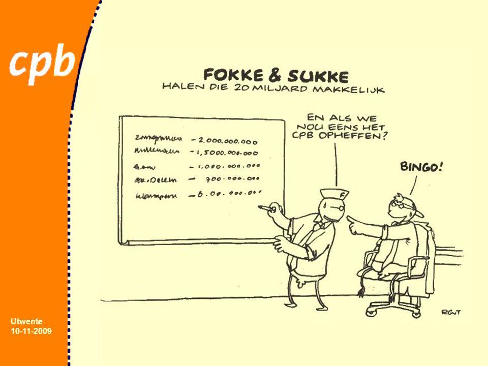 Utwente 10-11-2009 Ramingsproces (3) Check plausibiliteit modeluitkomsten ► vergelijken met eerdere conjunctuurcycli ► afstemmen met CPB specialisten ► vergelijken met uitkomsten 'leading indicators' Nogmaals draaien met model Raming uitleggen ( MR, Ministeries en journalisten ) en publiceren