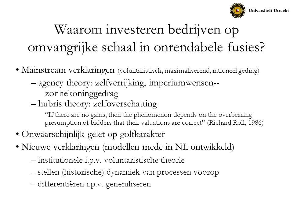 Waarom investeren bedrijven op omvangrijke schaal in onrendabele fusies? Mainstream verklaringen (voluntaristisch, maximaliserend, rationeel gedrag) –