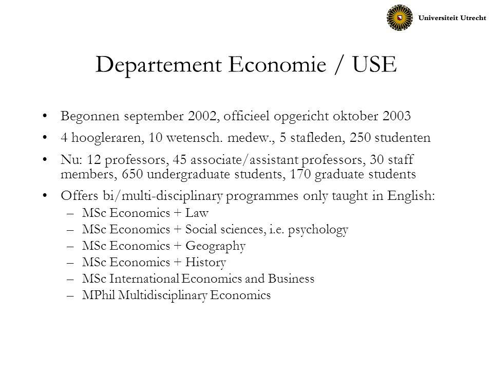Departement Economie / USE Begonnen september 2002, officieel opgericht oktober 2003 4 hoogleraren, 10 wetensch. medew., 5 stafleden, 250 studenten Nu