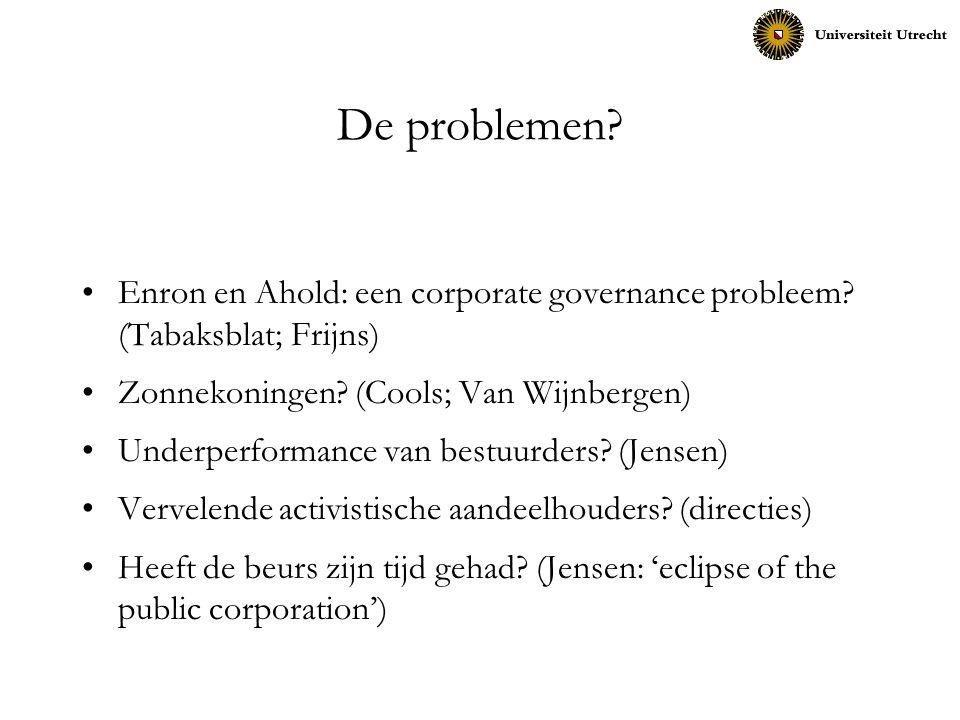 De problemen? Enron en Ahold: een corporate governance probleem? (Tabaksblat; Frijns) Zonnekoningen? (Cools; Van Wijnbergen) Underperformance van best