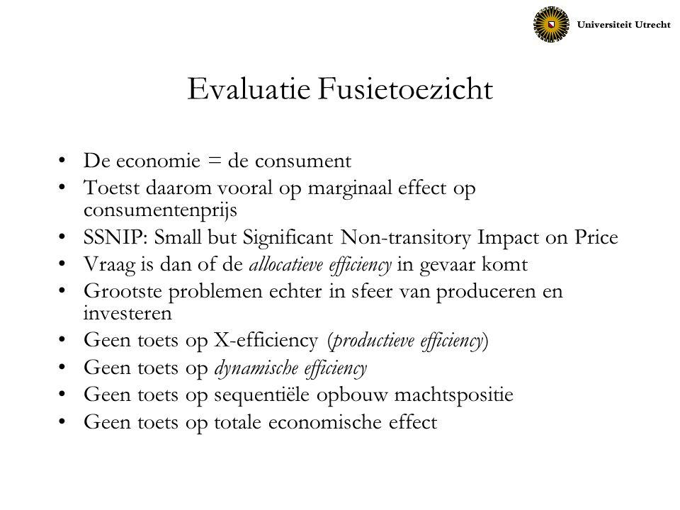 Evaluatie Fusietoezicht De economie = de consument Toetst daarom vooral op marginaal effect op consumentenprijs SSNIP: Small but Significant Non-trans