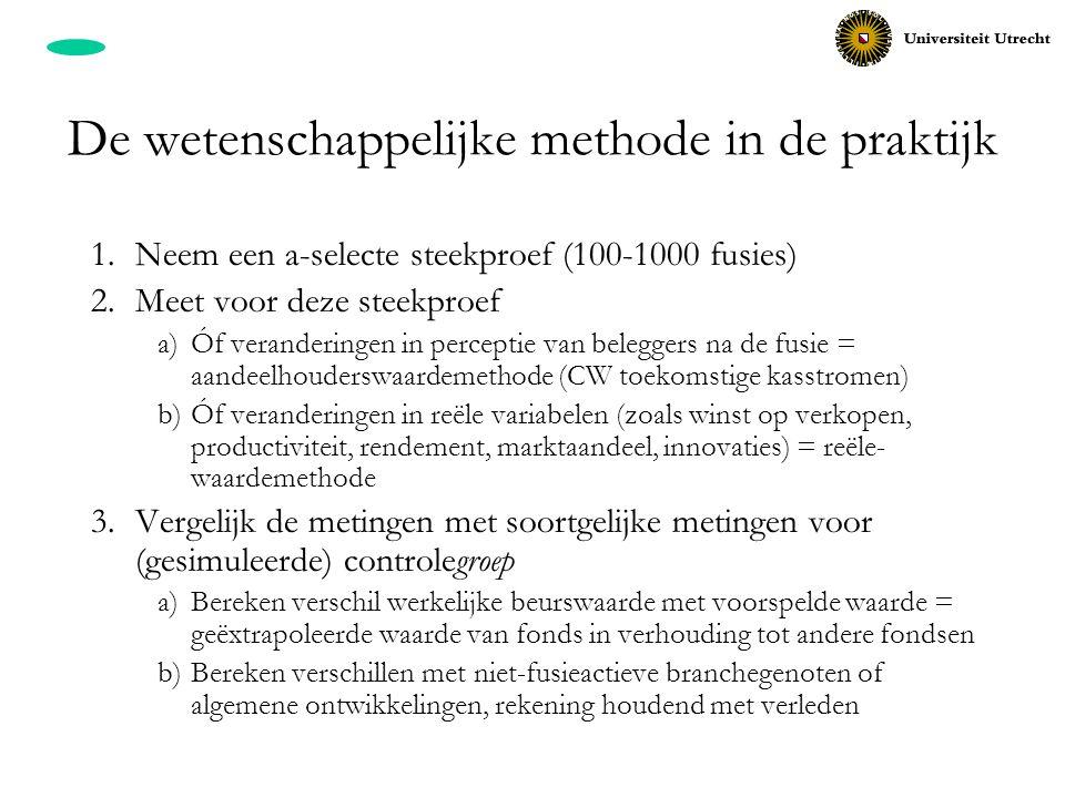 De wetenschappelijke methode in de praktijk 1.Neem een a-selecte steekproef (100-1000 fusies) 2.Meet voor deze steekproef a)Óf veranderingen in percep