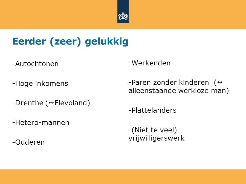 Eerder (zeer) gelukkig -Autochtonen -Hoge inkomens -Drenthe (  Flevoland) -Hetero-mannen -Ouderen -Werkenden -Paren zonder kinderen (  alleenstaande werkloze man) -Plattelanders -(Niet te veel) vrijwilligerswerk