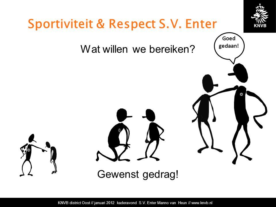 Sportiviteit & Respect S.V.Enter Wat willen we bereiken.