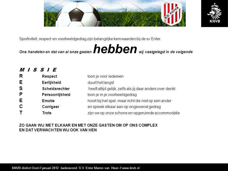Sportiviteit & Respect S.V.Enter Kaderavond S.V.