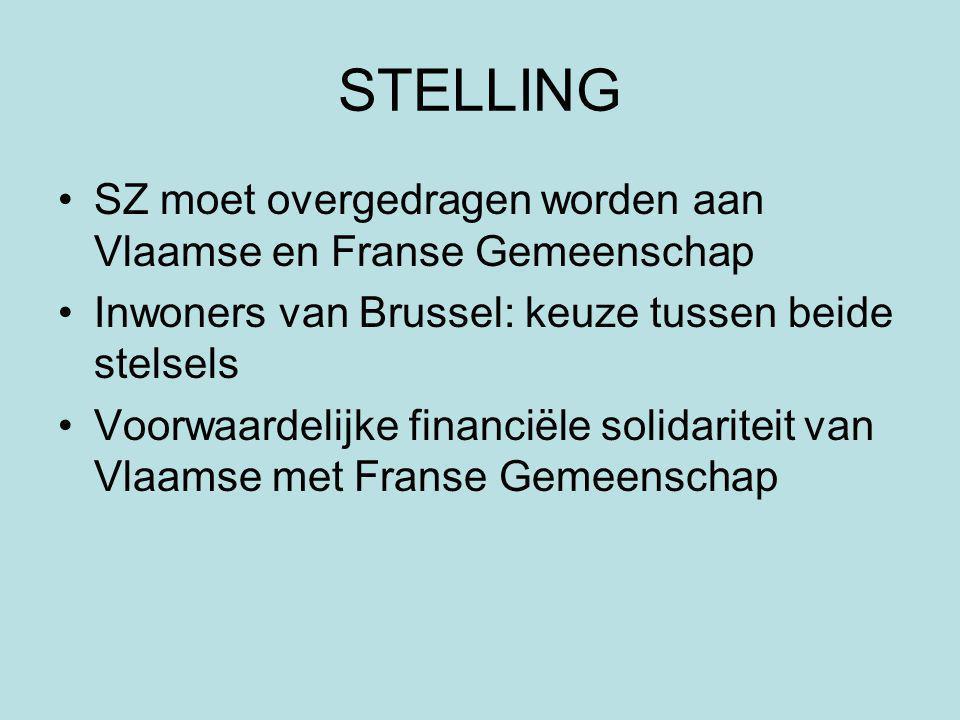 STELLING SZ moet overgedragen worden aan Vlaamse en Franse Gemeenschap Inwoners van Brussel: keuze tussen beide stelsels Voorwaardelijke financiële solidariteit van Vlaamse met Franse Gemeenschap