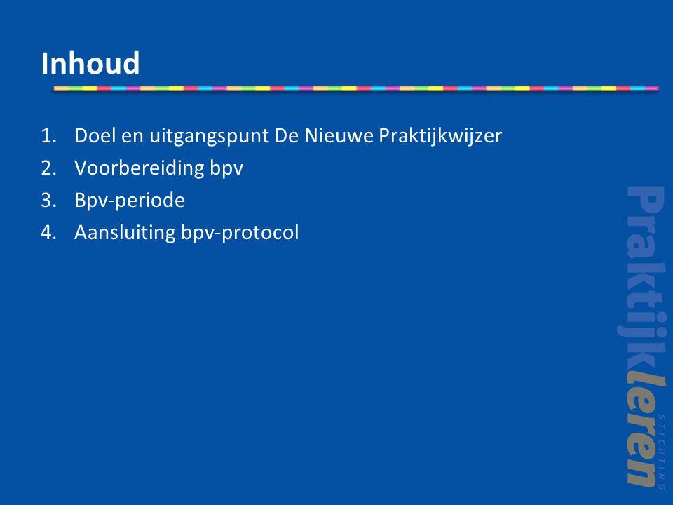 Inhoud 1.Doel en uitgangspunt De Nieuwe Praktijkwijzer 2.Voorbereiding bpv 3.Bpv-periode 4.Aansluiting bpv-protocol