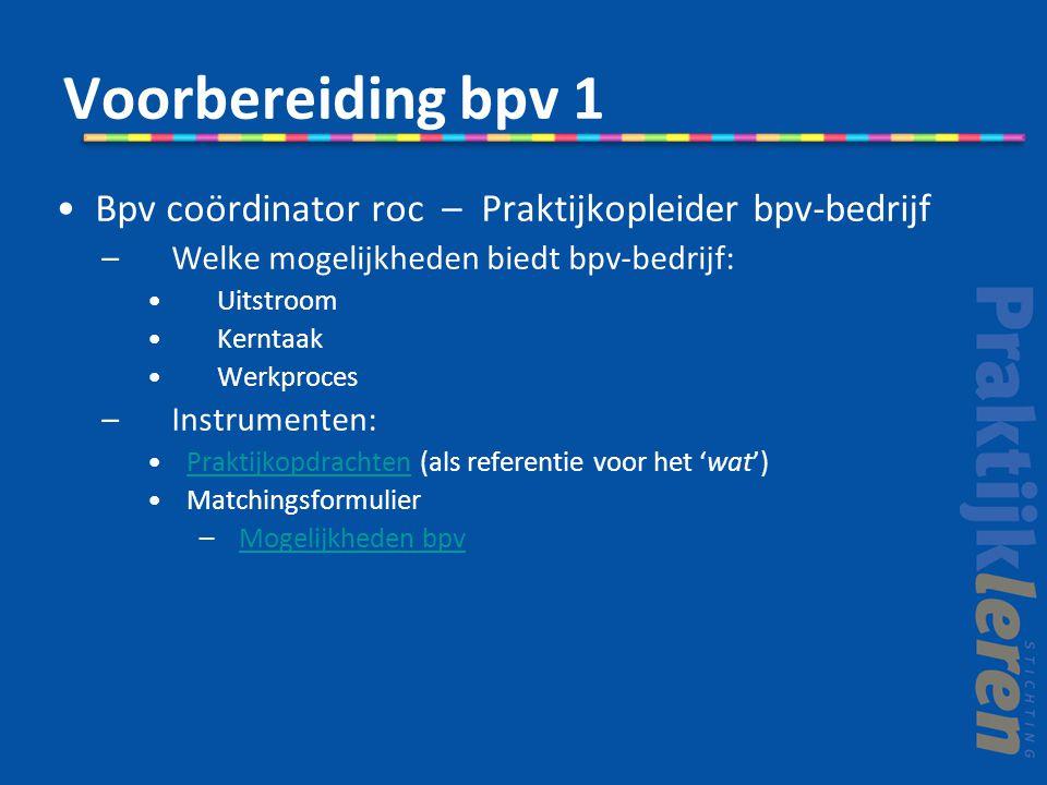 Voorbereiding bpv 1 Bpv coördinator roc – Praktijkopleider bpv-bedrijf –Welke mogelijkheden biedt bpv-bedrijf: Uitstroom Kerntaak Werkproces –Instrumenten: Praktijkopdrachten (als referentie voor het 'wat')Praktijkopdrachten Matchingsformulier –Mogelijkheden bpvMogelijkheden bpv