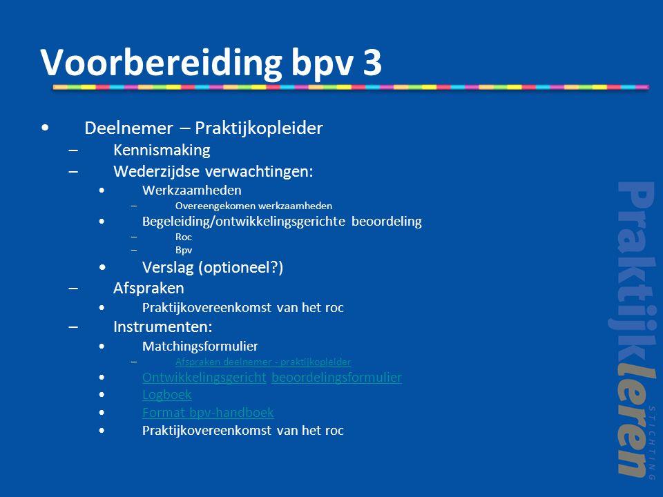 Voorbereiding bpv 3 Deelnemer – Praktijkopleider –Kennismaking –Wederzijdse verwachtingen: Werkzaamheden –Overeengekomen werkzaamheden Begeleiding/ont