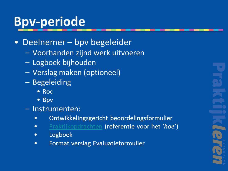 Bpv-periode Deelnemer – bpv begeleider –Voorhanden zijnd werk uitvoeren –Logboek bijhouden –Verslag maken (optioneel) –Begeleiding Roc Bpv –Instrument