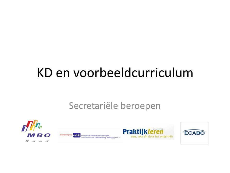 KD en voorbeeldcurriculum Secretariële beroepen