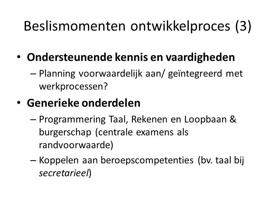 Beslismomenten ontwikkelproces (3) Ondersteunende kennis en vaardigheden – Planning voorwaardelijk aan/ geïntegreerd met werkprocessen? Generieke onde