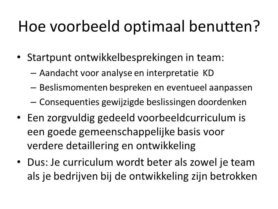 Hoe voorbeeld optimaal benutten? Startpunt ontwikkelbesprekingen in team: – Aandacht voor analyse en interpretatie KD – Beslismomenten bespreken en ev