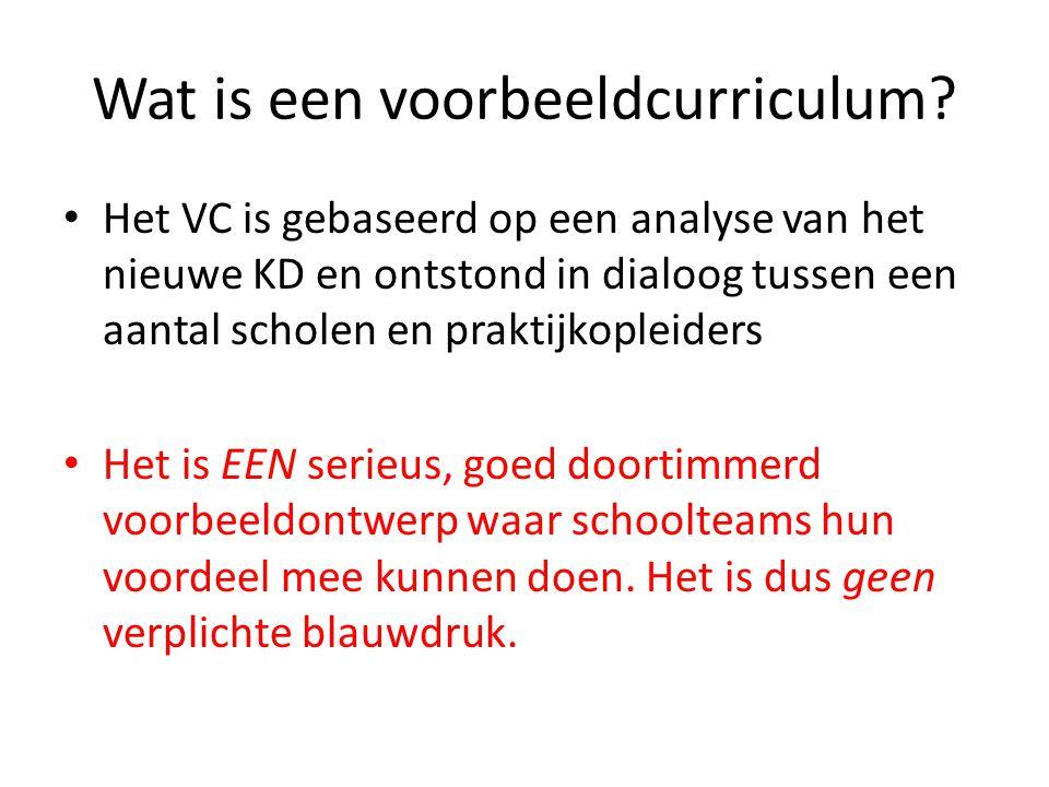 Wat is een voorbeeldcurriculum? Het VC is gebaseerd op een analyse van het nieuwe KD en ontstond in dialoog tussen een aantal scholen en praktijkoplei