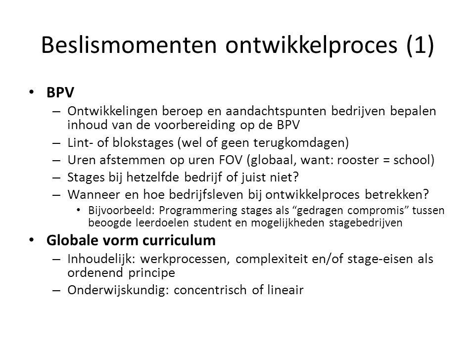 Beslismomenten ontwikkelproces (5) Examen- en leerproducten: welke bestaande middelen kunnen we waar inzetten.