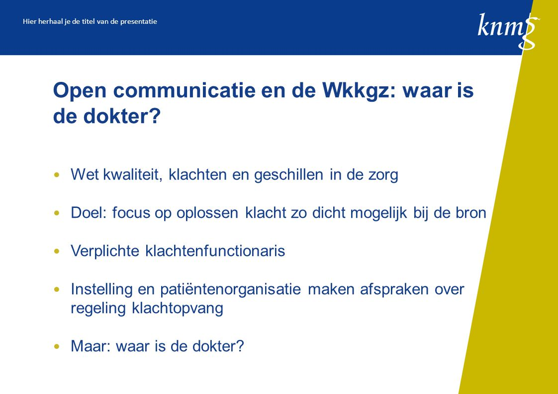 Open communicatie en de Wkkgz: waar is de dokter.
