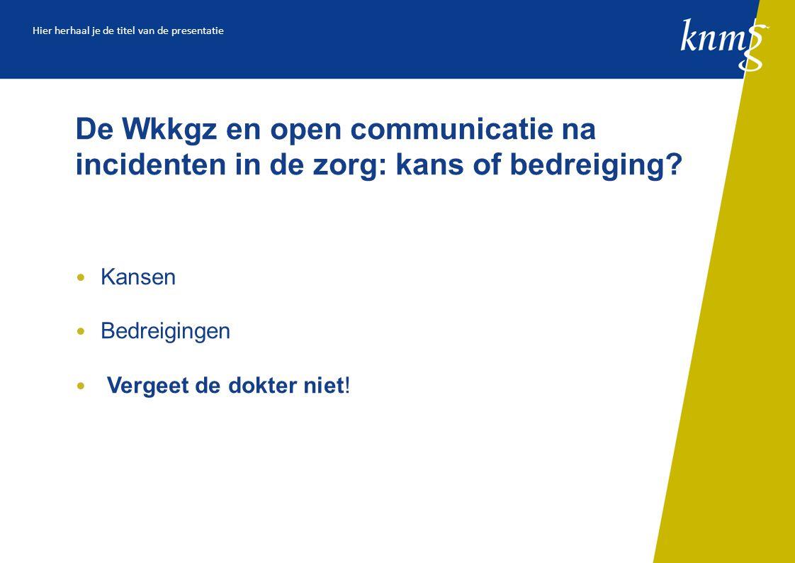 De Wkkgz en open communicatie na incidenten in de zorg: kans of bedreiging.