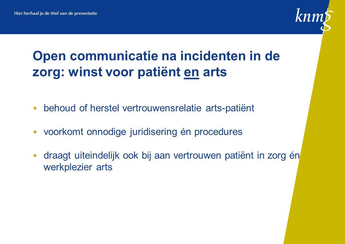 Open communicatie na incidenten in de zorg: winst voor patiënt en arts behoud of herstel vertrouwensrelatie arts-patiënt voorkomt onnodige juridisering én procedures draagt uiteindelijk ook bij aan vertrouwen patiënt in zorg én werkplezier arts Hier herhaal je de titel van de presentatie
