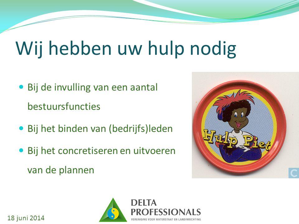 Wij hebben uw hulp nodig Bij de invulling van een aantal bestuursfuncties Bij het binden van (bedrijfs)leden Bij het concretiseren en uitvoeren van de plannen 18 juni 2014
