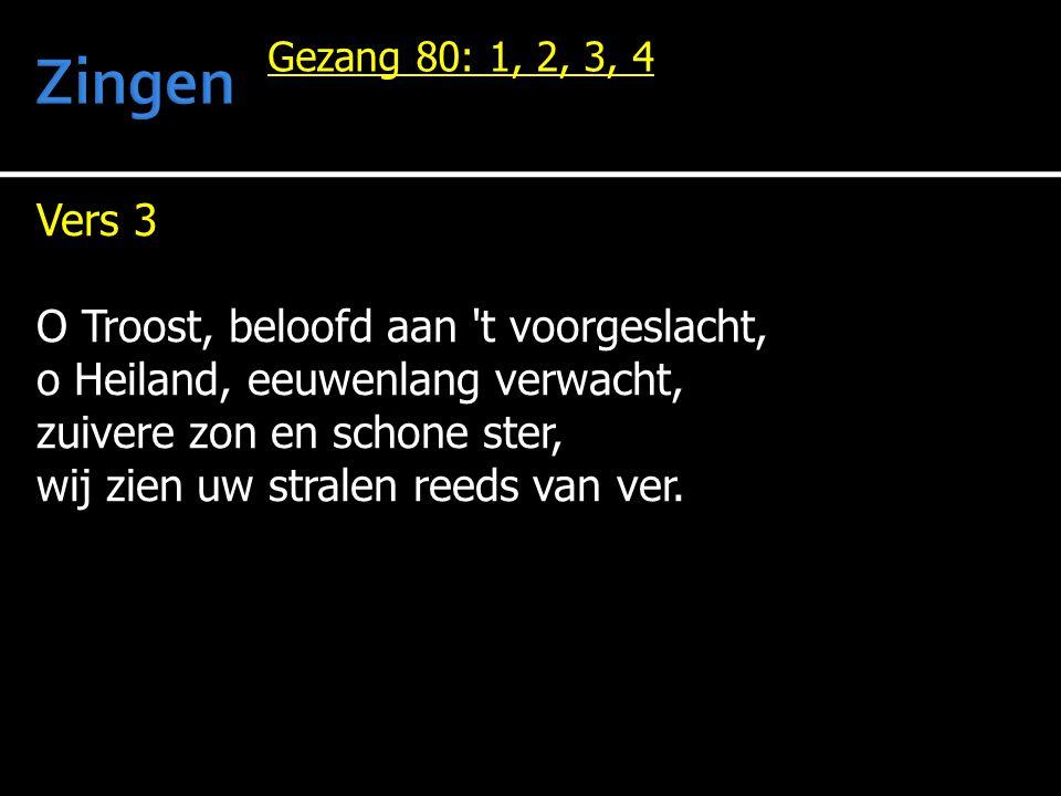 Vers 3 O Troost, beloofd aan 't voorgeslacht, o Heiland, eeuwenlang verwacht, zuivere zon en schone ster, wij zien uw stralen reeds van ver. Gezang 80