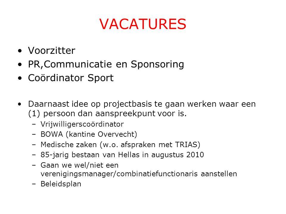 VACATURES Voorzitter PR,Communicatie en Sponsoring Coördinator Sport Daarnaast idee op projectbasis te gaan werken waar een (1) persoon dan aanspreekp
