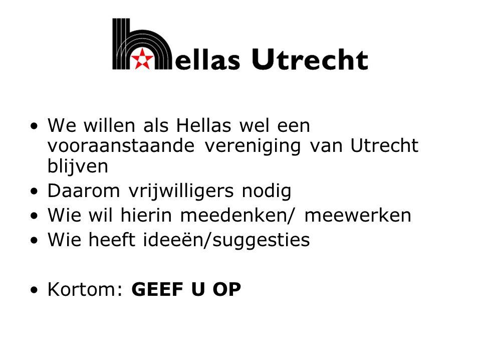 We willen als Hellas wel een vooraanstaande vereniging van Utrecht blijven Daarom vrijwilligers nodig Wie wil hierin meedenken/ meewerken Wie heeft id
