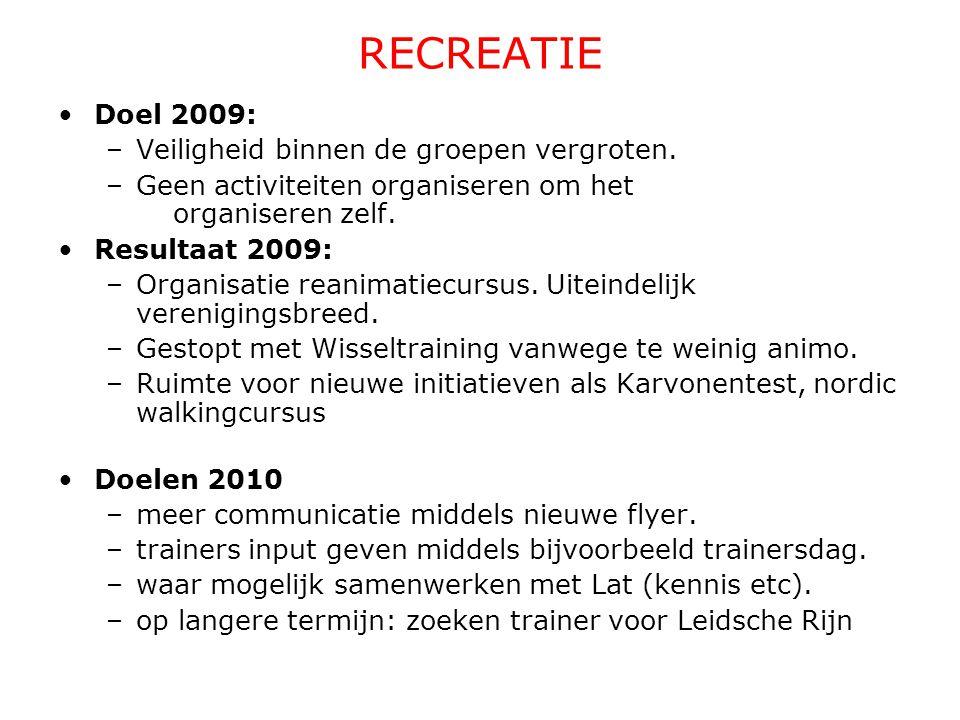 Doel 2009: -Optuigen van commissie baanatletiek -Overleg met jeugdcommissie over samenwerking/overlapping Resultaat 2009: -start commissie baanatletiek Doelen voor 2010: - Verder optuigen baancommissie - Uitwerken plan samengaan met jeugd BAANATLETIEK