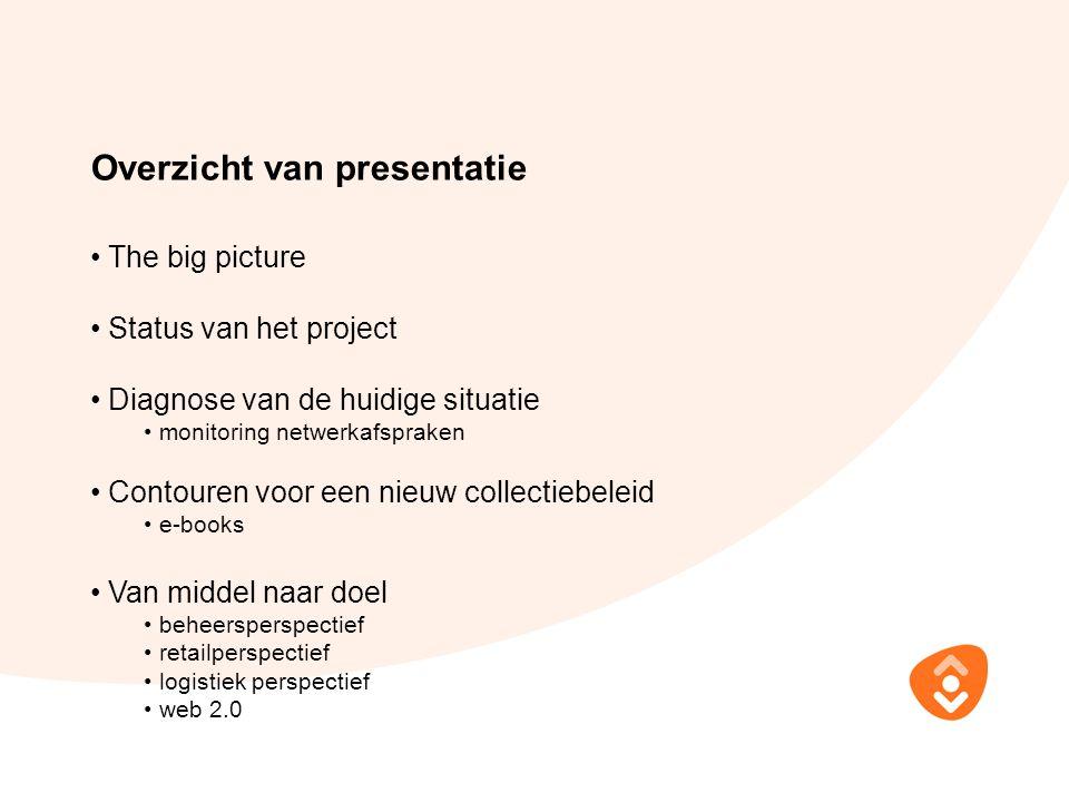 Overzicht van presentatie The big picture Status van het project Diagnose van de huidige situatie monitoring netwerkafspraken Contouren voor een nieuw