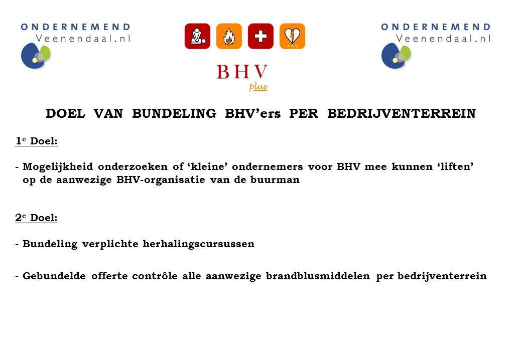 DOEL VAN BUNDELING BHV'ers PER BEDRIJVENTERREIN 1 e Doel: - Mogelijkheid onderzoeken of 'kleine' ondernemers voor BHV mee kunnen 'liften' op de aanwez