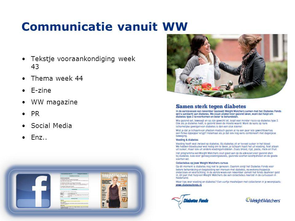 Communicatie vanuit WW Tekstje vooraankondiging week 43 Thema week 44 E-zine WW magazine PR Social Media Enz..