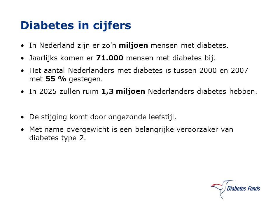 Diabetes in cijfers In Nederland zijn er zo'n miljoen mensen met diabetes. Jaarlijks komen er 71.000 mensen met diabetes bij. Het aantal Nederlanders