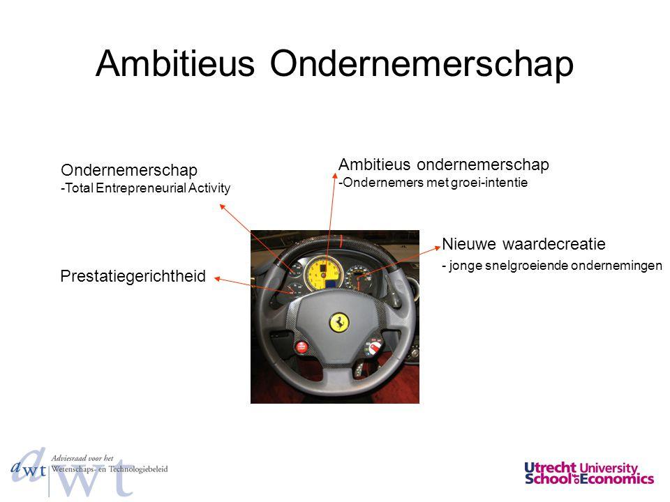 Ambitieus Ondernemerschap Ambitieus ondernemerschap -Ondernemers met groei-intentie Nieuwe waardecreatie - jonge snelgroeiende ondernemingen Onderneme