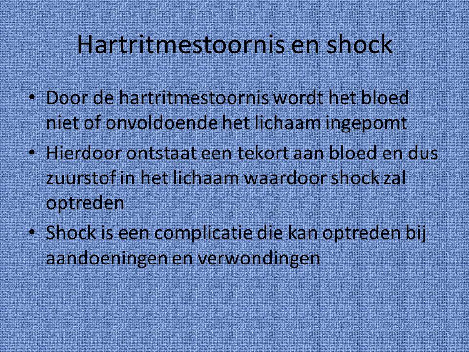Hartritmestoornis en shock Door de hartritmestoornis wordt het bloed niet of onvoldoende het lichaam ingepomt Hierdoor ontstaat een tekort aan bloed e