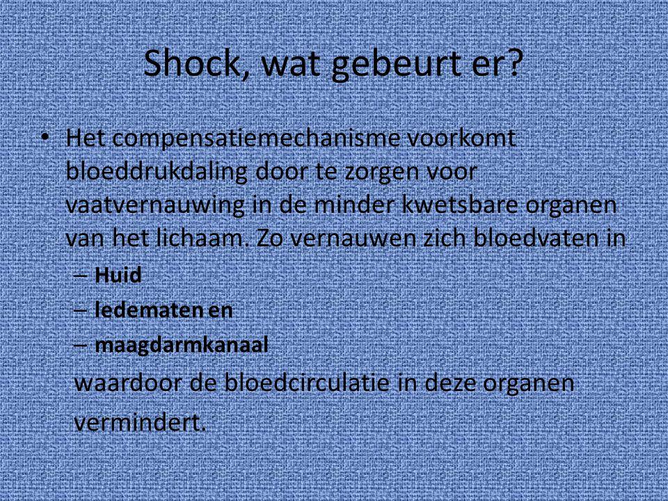 Shock, wat gebeurt er? Het compensatiemechanisme voorkomt bloeddrukdaling door te zorgen voor vaatvernauwing in de minder kwetsbare organen van het li