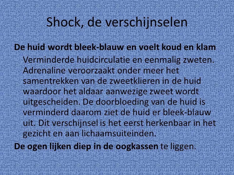 Shock, de verschijnselen De huid wordt bleek-blauw en voelt koud en klam Verminderde huidcirculatie en eenmalig zweten. Adrenaline veroorzaakt onder m