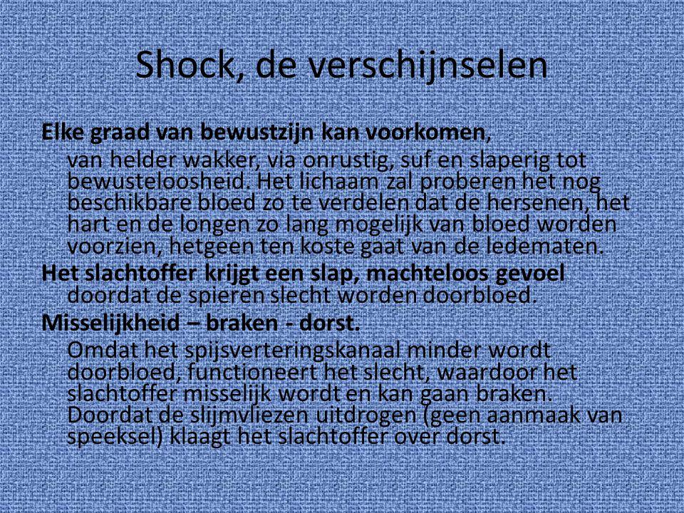Shock, de verschijnselen Elke graad van bewustzijn kan voorkomen, van helder wakker, via onrustig, suf en slaperig tot bewusteloosheid. Het lichaam za