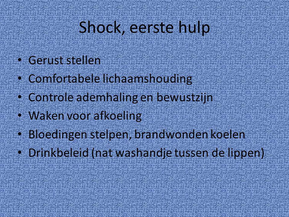 Shock, eerste hulp Gerust stellen Comfortabele lichaamshouding Controle ademhaling en bewustzijn Waken voor afkoeling Bloedingen stelpen, brandwonden