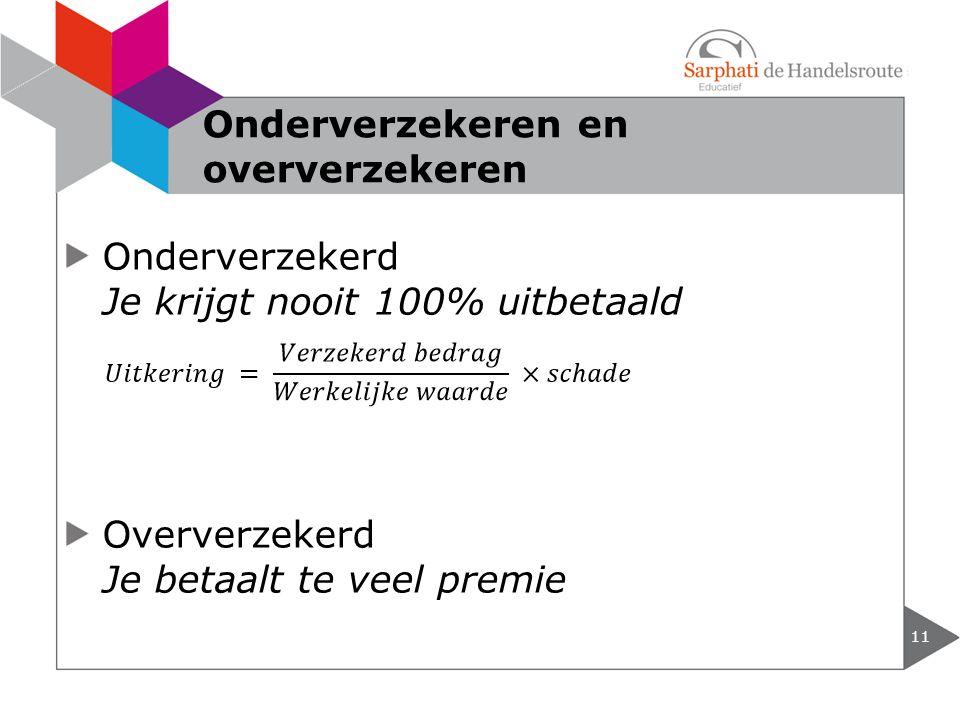 Onderverzekerd Je krijgt nooit 100% uitbetaald Oververzekerd Je betaalt te veel premie 11 Onderverzekeren en oververzekeren