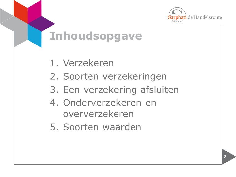 Inhoudsopgave 2 1.Verzekeren 2.Soorten verzekeringen 3.Een verzekering afsluiten 4.Onderverzekeren en oververzekeren 5.Soorten waarden