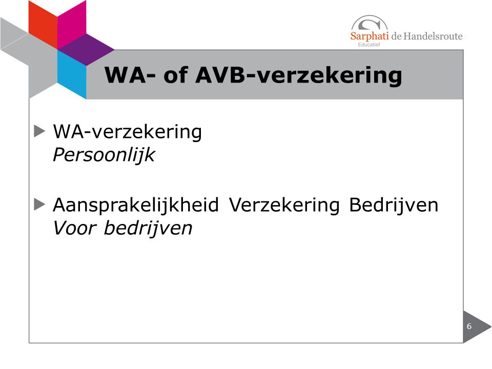 WA-verzekering Persoonlijk Aansprakelijkheid Verzekering Bedrijven Voor bedrijven 6 WA- of AVB-verzekering