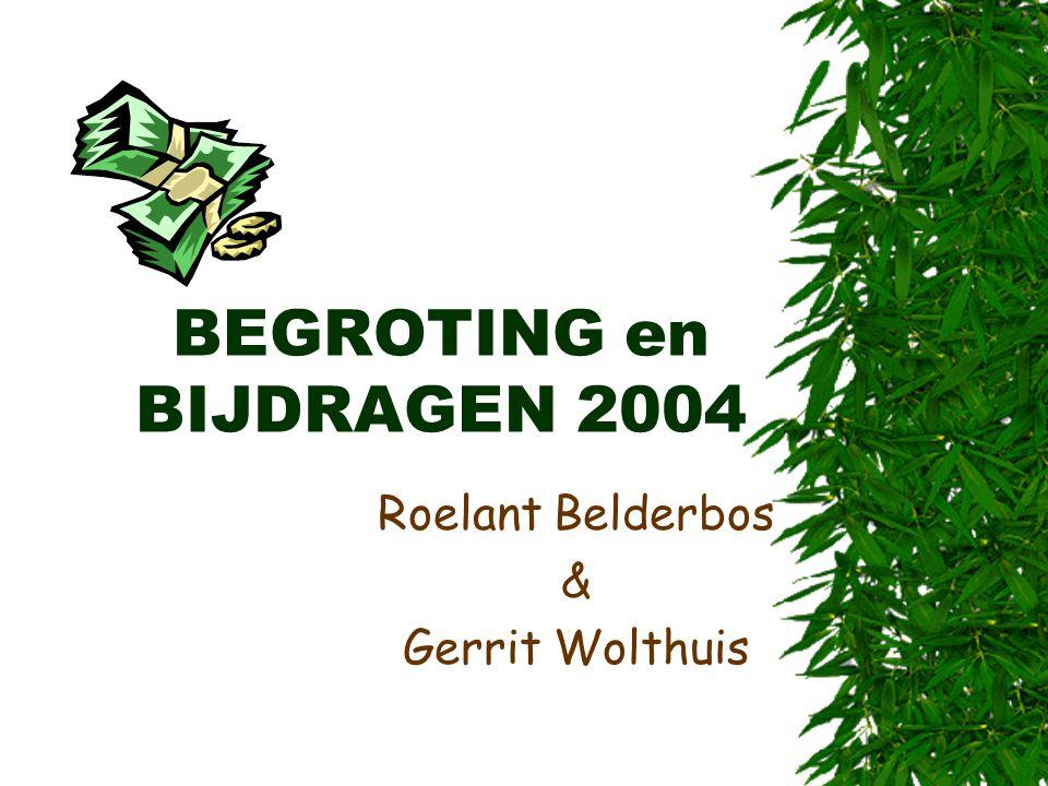 BEGROTING en BIJDRAGEN 2004 Roelant Belderbos & Gerrit Wolthuis